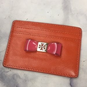 TORY BURCH card holder orange leather